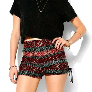 Ecote | 2 woven boho shorts tie side multi color